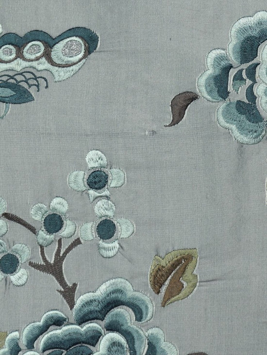 Grey Custom Made Embroidered Dupioni Silk Curtains - The Hollyhock blossom are sending out the smell of fragrance, attracting butterflies to dance around. A really lovely scene!
