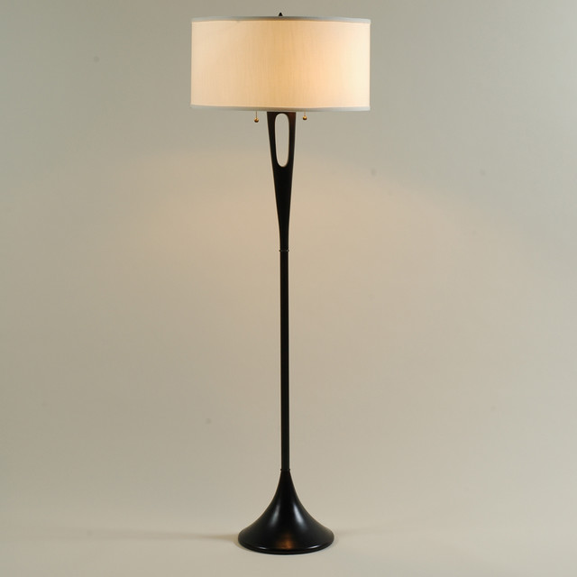 Lights Up! Soiree Floor Lamp - Antique Bronze Base - shade: ivory ...