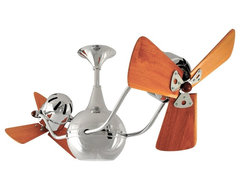 "Contemporary 42"" Matthews Vent Bettina Chrome and Wood Ceiling Fan contemporary ceiling fans"