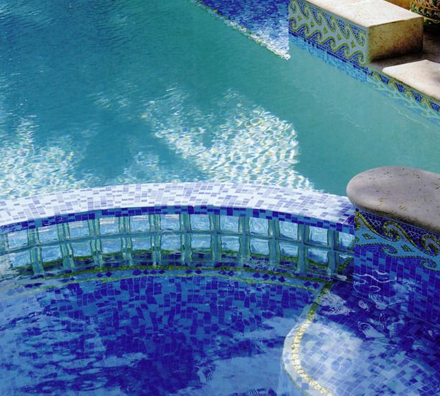 Aquatic Glass Tile Mosaic contemporary