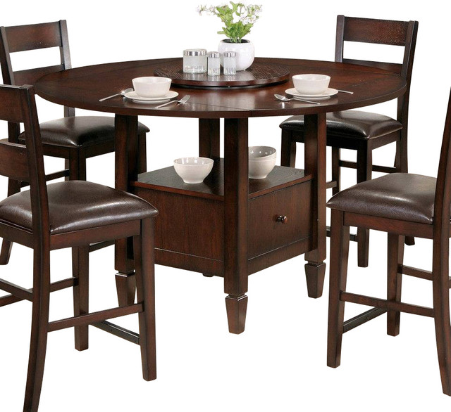 Steve Silver Gibson Casual 42 Inch Round Counter Height Table In Espresso Transitional