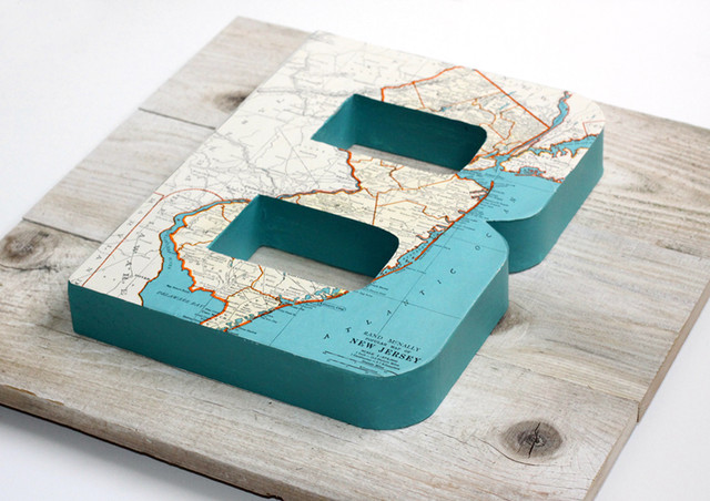 Vintage Map Letter B on Reclaimed Wood  artwork
