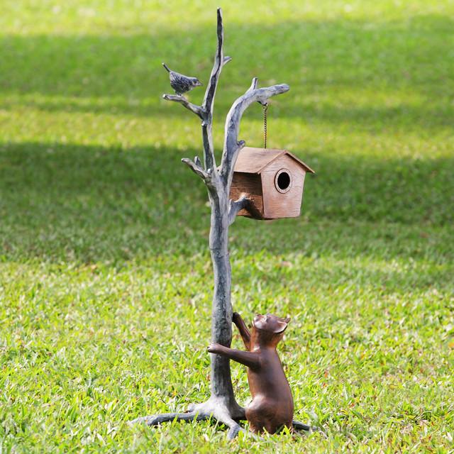 Cat bird garden sculpture with bluetooth speakers for Cat yard art