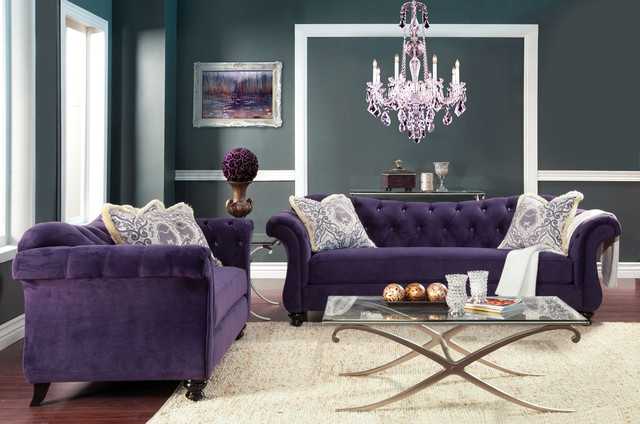 Luxe Purple Piece Sofa Set Contemporary Living Room Furniture Sets - Purple Living Room Chair