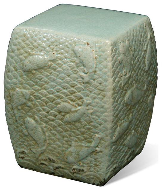 Koi fish porcelain garden stool asian furniture by for Koi furniture