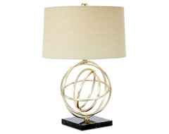 Silver Leaf Circle Table Lamp contemporary-table-lamps