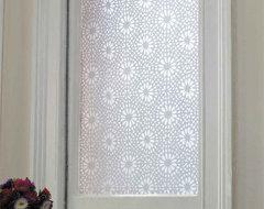 Emma Jeffs White Moroccan Tile Adhesive Film modern-window-treatments