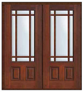 Prehung French Double Door 80 Fiberglass Marginal 9 Lite