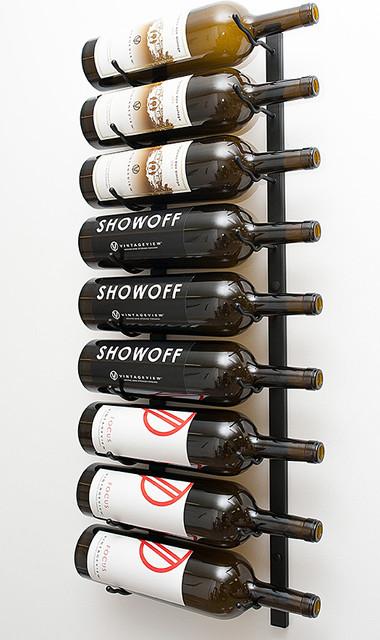 VintageView® 9 Magnum Bottle Wall Mounted Rack in Brushed Nickel modern-wine-racks