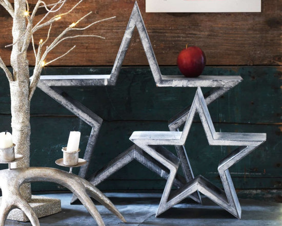 Set Of 2 Grey Wooden Stars -