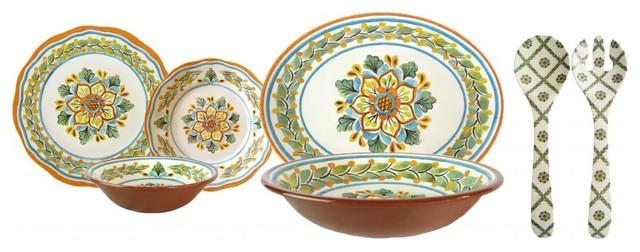 Le Cadeaux San Miguel Crema 16 PC Dinnerware Set, 16 Pc Dinnerware Set rustic-dinnerware-sets
