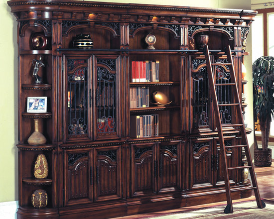 Barcelona Library Bookcase Wall w/ Ladder in Antique Walnut - Photo by Parker House, library wall @ http://www.dynamichomedecor.com/Parker-House-BAR-6PC-LBW.html