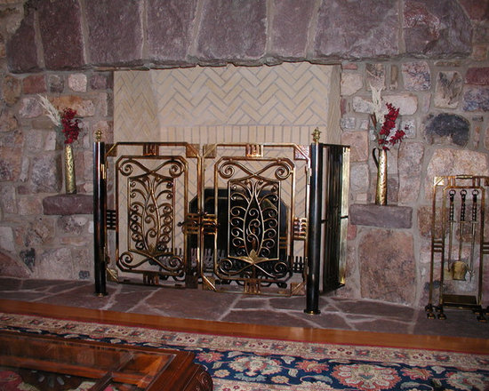 Bronze Fireplace Screen - Deco Screen and Tools with Wax Finish