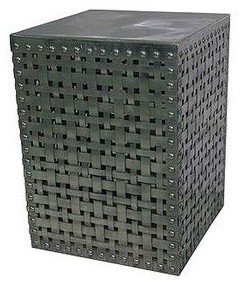 Woven Square Accent Table In Polished Silver contemporary side tables and accent tables