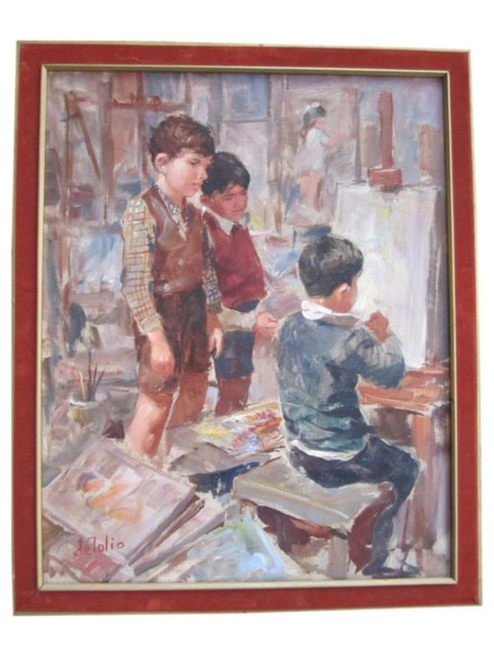 School Boys at Easel - $875 Est. Retail - $475 on Chairish.com -