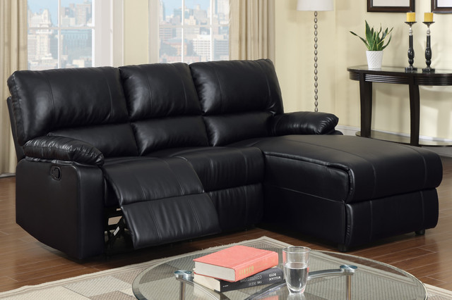 Small black leather reclining sectional sofa set recliner for Black leather chaise sofa