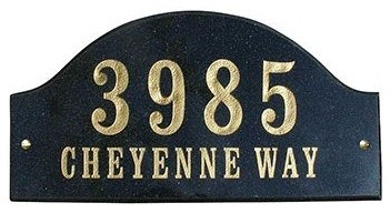 Solid Granite Address Plaque, Ridgecrest Arch, Black Natural modern-house-numbers