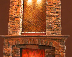 Wall Fountain Above Fireplace craftsman-living-room
