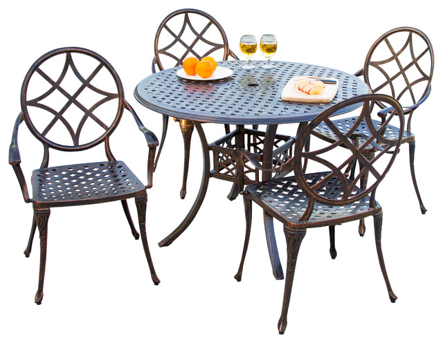 Norcross outdoor 5pcs cast aluminum dining set for Dining table set deals