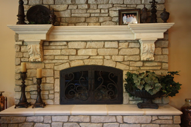 Cast Stone Fireplace Indoor Fireplaces Cleveland By