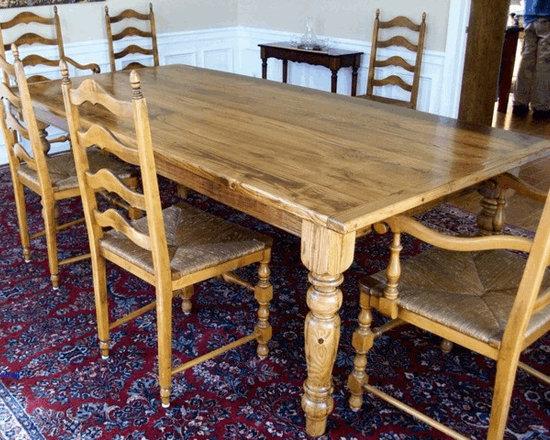 Farm Tables - Reclaimed chestnut table with turned legs.