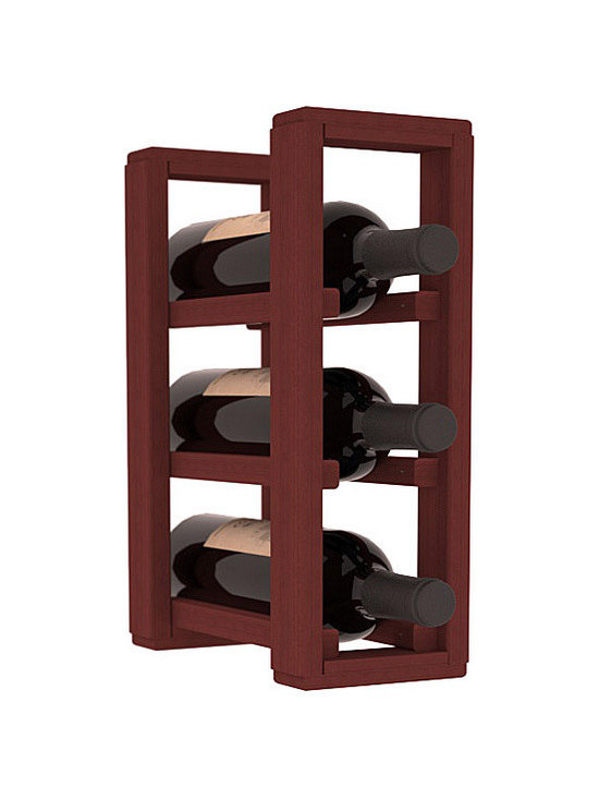 Wine Racks America® - 3 Bottle Counter Top/Pantry Wine Rack in Redwood, Cherry Stain - These counter top wine racks are ideal for any pantry or kitchen setting.  These wine racks are also great for maximizing odd-sized/unused storage space.  They are available in furniture grade Ponderosa Pine, or Premium Redwood along with optional 6 stains and satin finish.  With 1-10 columns available, these racks will accommodate most any space!!