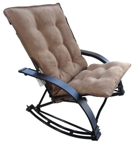 Folding Rocking Game Chair with Micro Suede Cushion - Saddle Brown Cushion modern-rocking-chairs