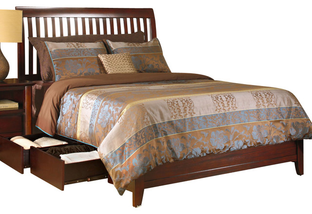 Modus City II Rake Storage Bed in Coco - Full traditional-beds