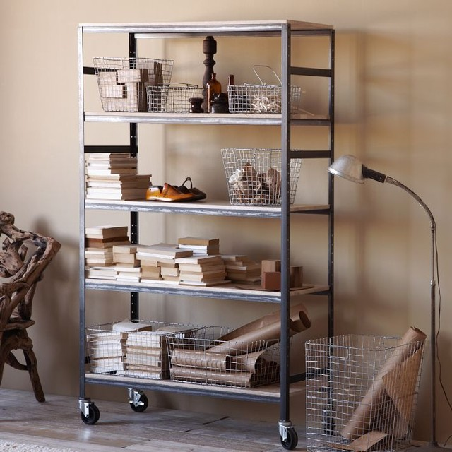 ... Workshop Rolling Tall Wide Shelf contemporary-display-and-wall-shelves