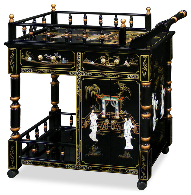 Black Lacquer Pearl Motif Tea Cart - Asian - Furniture - by China Furniture and Arts