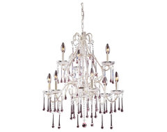 Opulence Antique White Nine Arm Chandelier with Rose Crystals modern-chandeliers