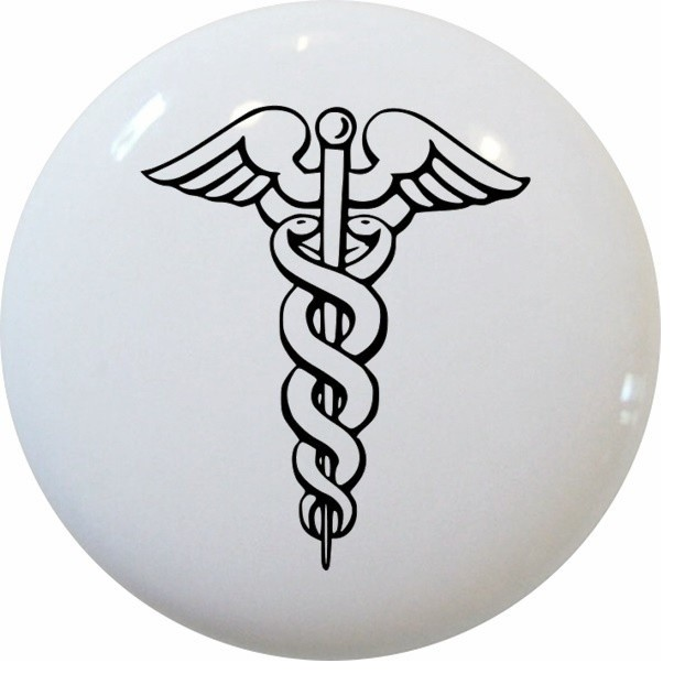 Caduceus Medical Symbol Ceramic Cabinet Drawer Knob - Traditional - Cabinet And Drawer Knobs ...