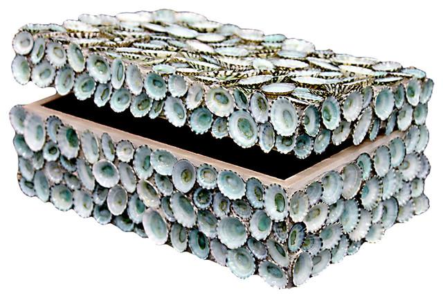 Oyster Bay Coastal Blue Limpet Shell Decorative Box by Karen Robertson beach-style-decorative-boxes
