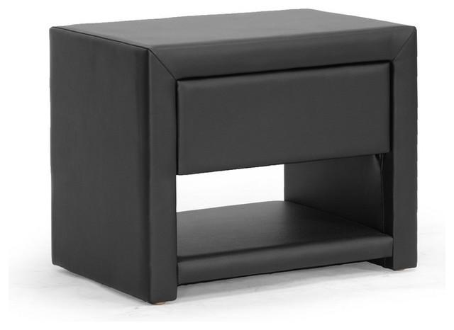 Massey Black Upholstered Modern Nightstand
