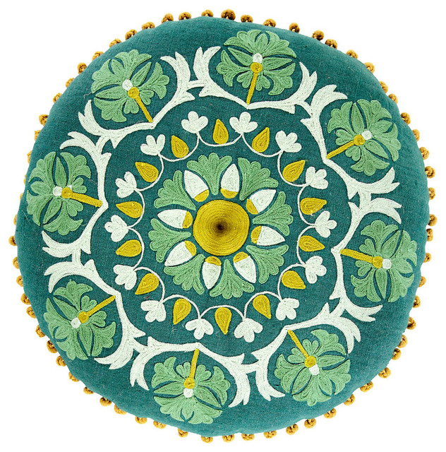 Round Geo Floral Pillow - Forest, Emerald and Seafoam transitional-decorative-pillows
