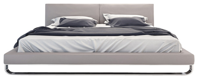 Chelsea Bed, Warm Gray Leather, Queen modern-beds