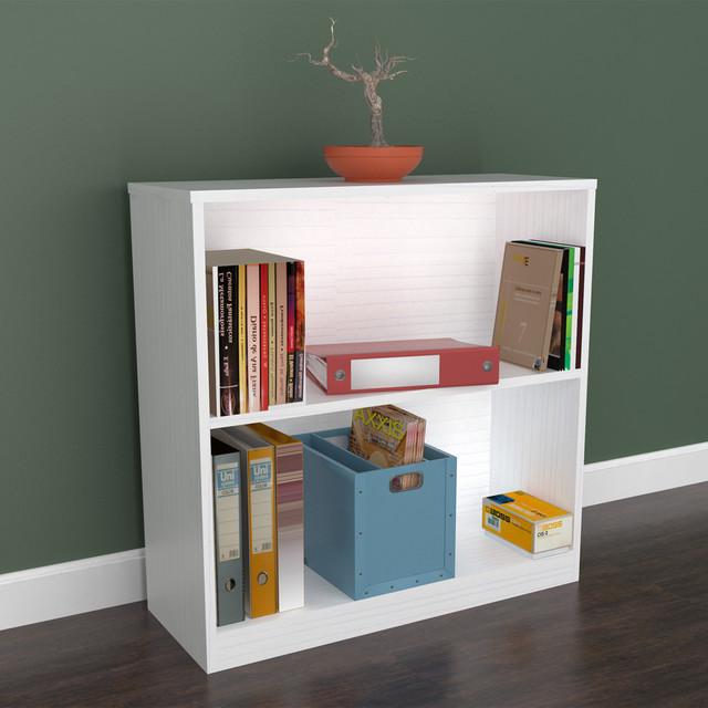 Inval White Two Shelf Desk Bookcase contemporary-desks