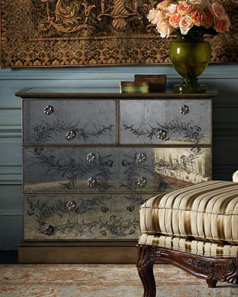 Antiqued Mirrored Chest traditional-accent-chests-and-cabinets