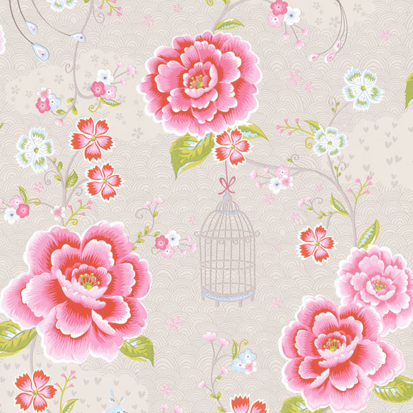 Taupe Floral Birds Trail Wallpaper