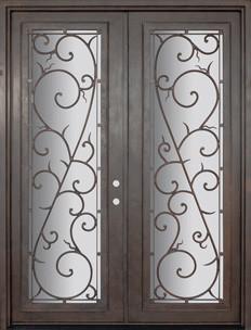 Bellagio 72x96 Wrought Iron Double Door 14 Gauge Steel mediterranean-front-doors