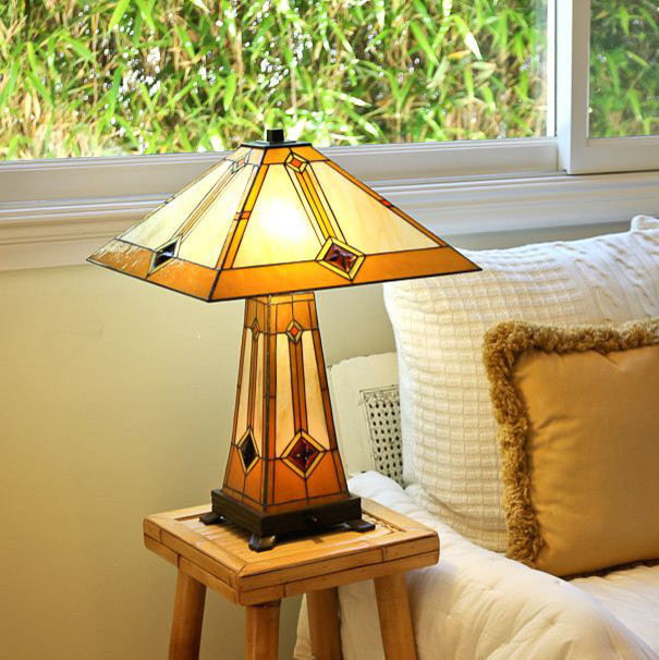 tiffany style golden mission table lamp with lit base. Black Bedroom Furniture Sets. Home Design Ideas