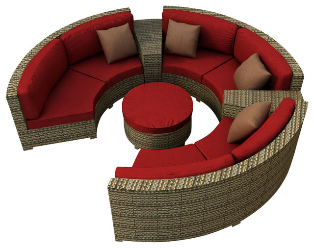 Hampton 6 Piece Modern Wicker Sectional Set, Heather Wicker and Ruby Cushions modern-patio-furniture-and-outdoor-furniture