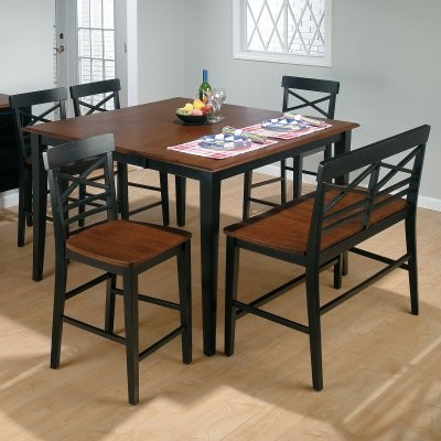 Stratford 6 Pc Counter Height Dining Table Black Set With Bench And 4 Chairs