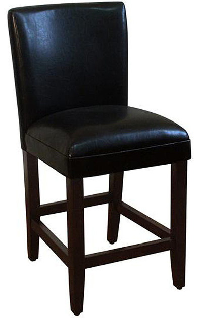 24 inch luxury black faux leather barstool contemporary for Luxury leather bar stools