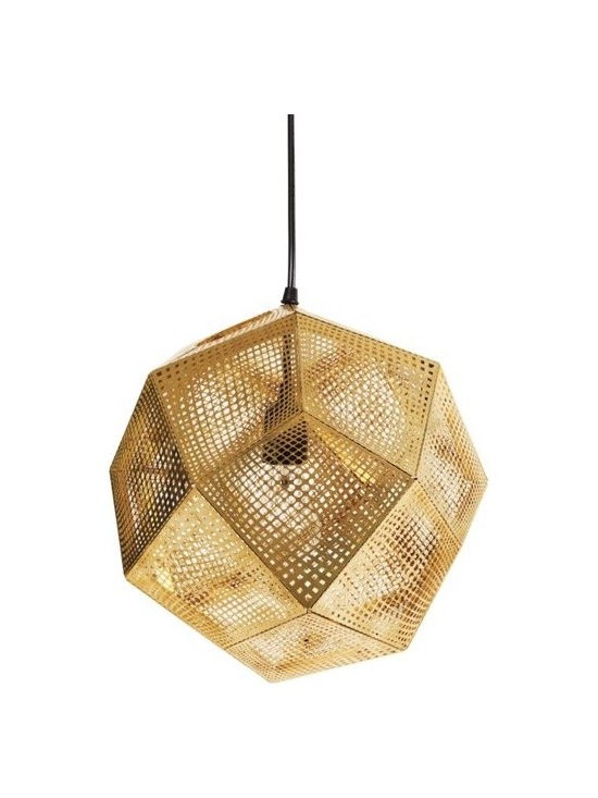 Etch Pendant, Brass - Brass is back in a big way. Here it's back in a Buckminster Fuller geodesic dome meets high tech kind of way, as this shade was put through some sort of cutting process that circuit boards go through, then molded into its geometric faceted shape. Hop on the Bravura Modern Resurgence Train and hang this over your kitchen island, dining table, or your bathtub. Or anywhere else you can think of! Designed by Tom Dixon.