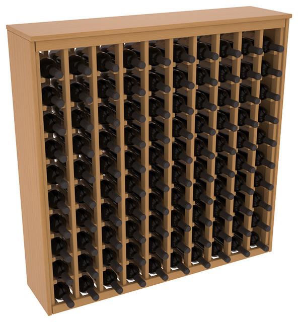 100 Bottle Deluxe Wine Rack in Ponderosa Pine, Oak Stain + Satin Finish contemporary-wine-racks
