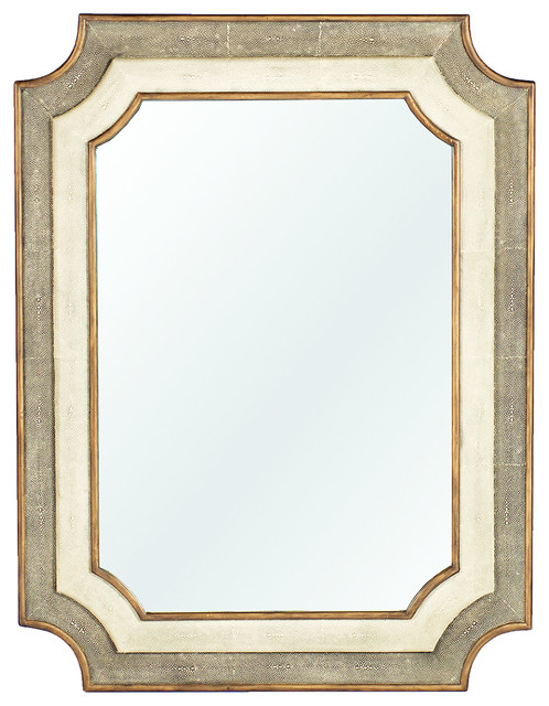 Yardley Antique Faux Gold Shagreen Notched Corner Classic Mirror transitional-mirrors