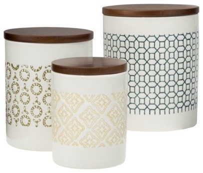 Threshold canister with wood lid collection contemporary for Hearth and home designs canister set