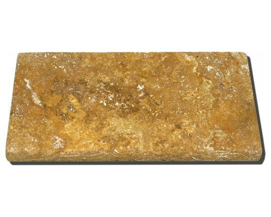 Elegant Gold Tumbled Travertine Pavers -