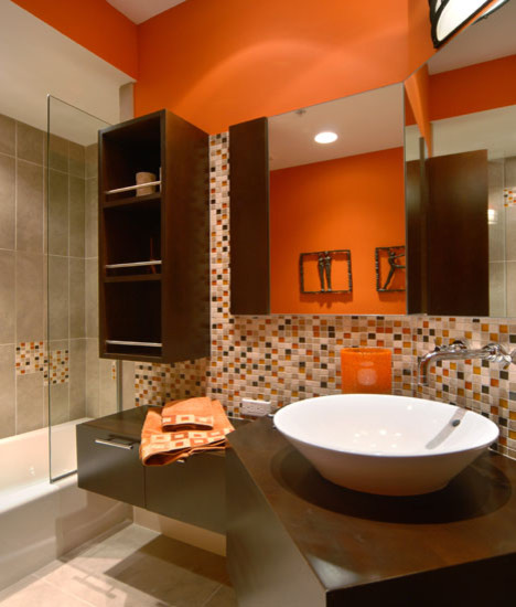 Orange Bathroom contemporary bathroom